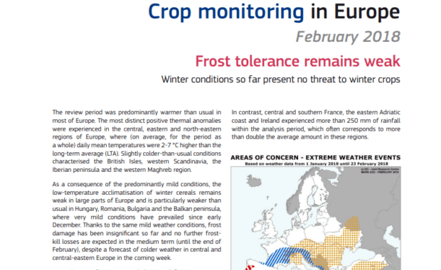 JRC MARS bulletin : Crop monitoring in Europe. Vol. 26 No 2, February 2018