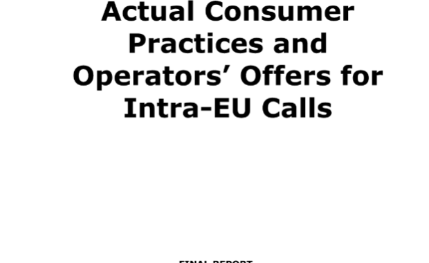 Actual consumer practices and operators' offers for intra-EU calls