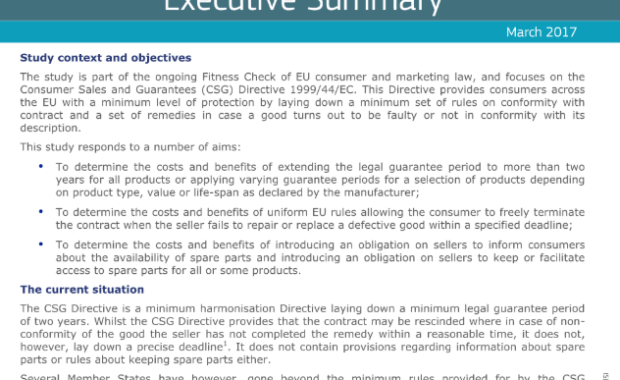 Study on the costs and benefits of extending certain rights under the Consumer Sales and Guarantees Directive 1999/94/EC