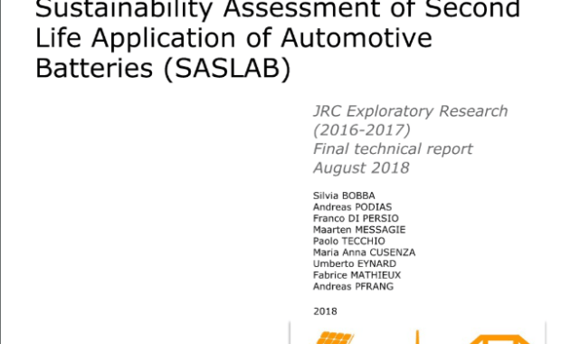 Sustainability Assessment of Second Life Application of Automotive Batteries (SASLAB) JRC exploratory research (2016-2017) : final technical report, August 2018