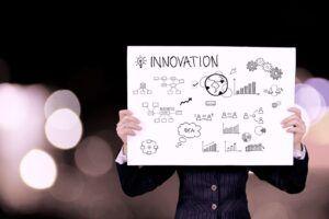 """Persona esconde su cara tras un cartel que refleja el proceso de creación de ideas en el que sea lee """"Innovación"""" como título"""
