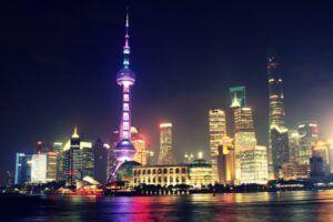 Skyline nocturno de Shangai (China)