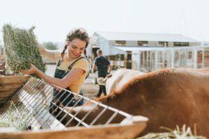 Chica con trenzas y sonriente  da de comer a los animales en una granja al aire libre